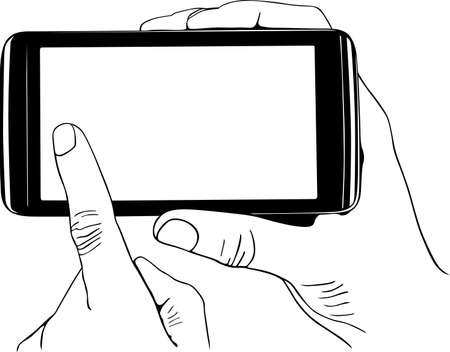 touch screen hand: Digital tablet pc in the hands Illustration