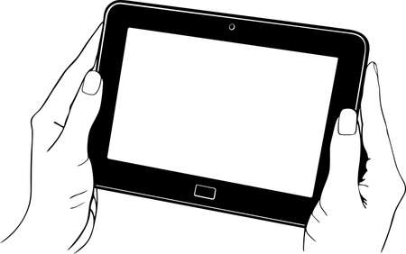 Tablet pc digitale nelle mani Vettoriali