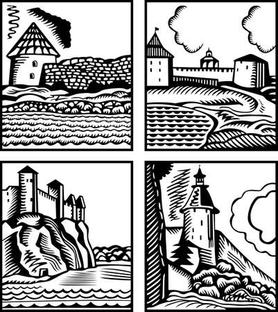 Set of four castles Vector