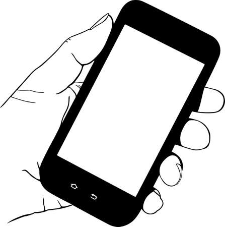 cellphone in hand: Mobile phone in the hand Illustration