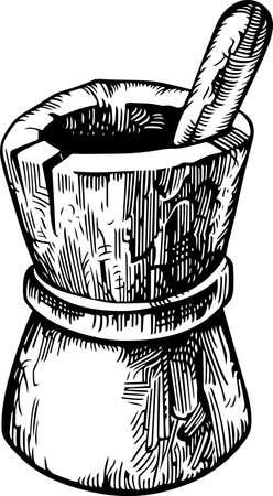 mortero: Triturador de madera antigua Vectores