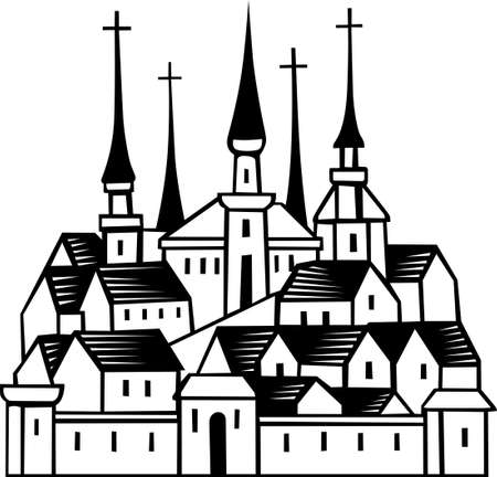 old church: Old town with some churches Illustration