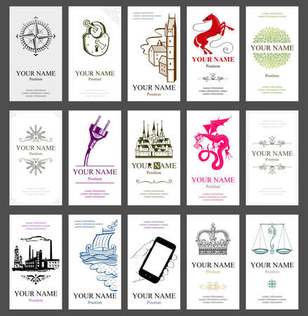 15 vertical business cards Stock Vector - 14935318