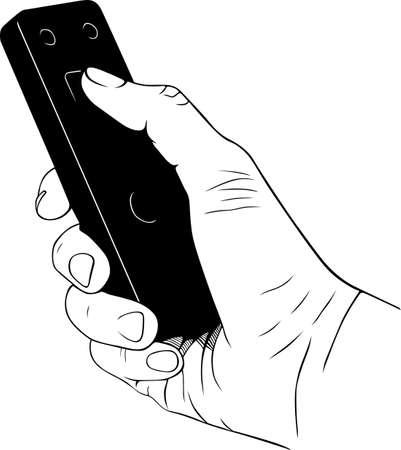 tv unit: Remote control unit in the hand