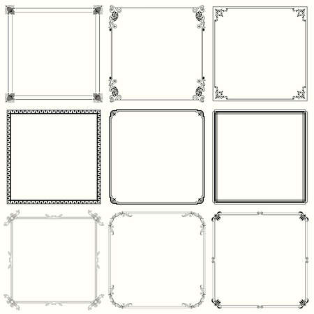 ink art: Set of decorative frames  set 24  Illustration