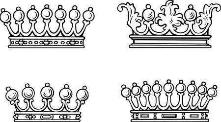 Four different crowns Vector