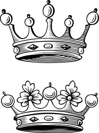 corona rey: Dos coronas diferentes Vectores