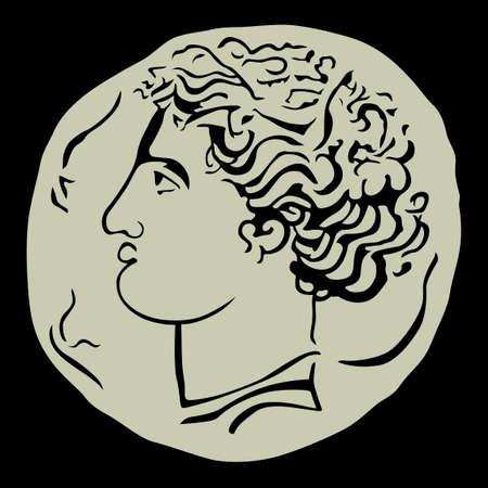 greek coins: Antique coin on black background