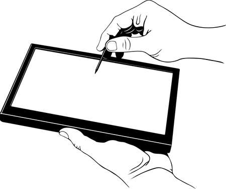 tablet pc in hand: Tablet pc with stylus pen in the hands