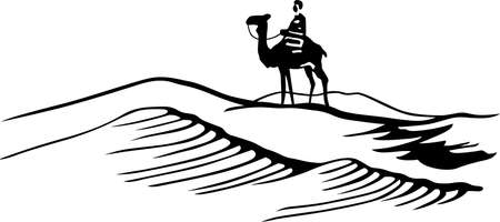 Bedouin on horse in the desert Illustration