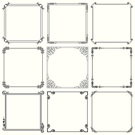ink art: Set of decorative frames