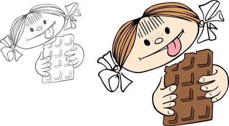 girl tongue: Girl eating chocolate and smiling Illustration