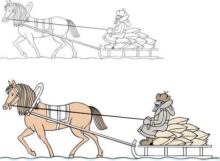 horse cart: Farmer riding on the cart in winter Illustration