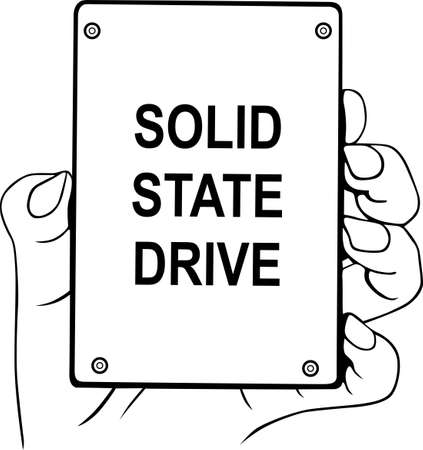Solid state drive in the hand Stock Vector - 16643521