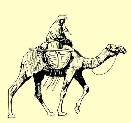 Beduinen auf einem Kamel reiten