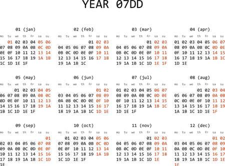 Hexadecimal programming calendar 2013 Stock Vector - 16643540