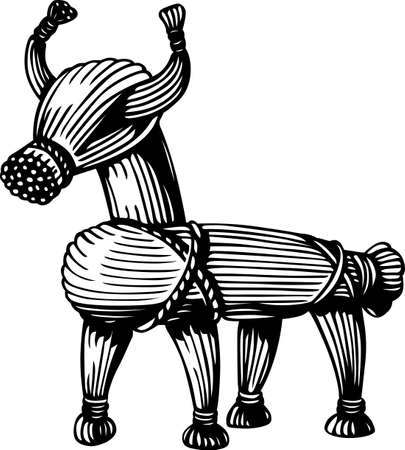 Straw cow Vector