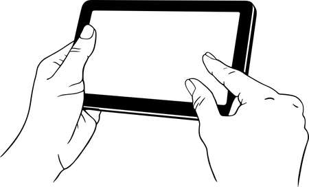 multi finger: Tablet pc in the hands