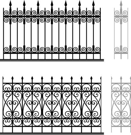 Wrought iron modular railings and fences Stock Vector - 16672910