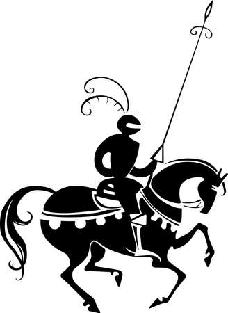 Knight horseriding with pike Vector