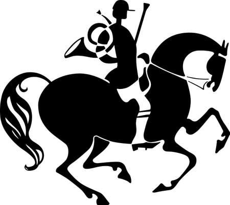 horseman: Cavaliere con corno da caccia Vettoriali