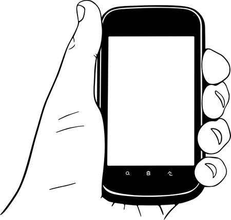 touch screen hand: Mobile phone in the hand Illustration