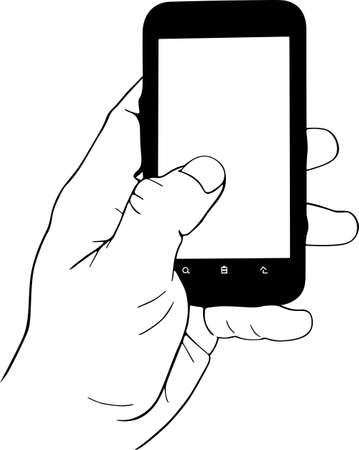 mobile sms: Mobile phone in the hand Illustration