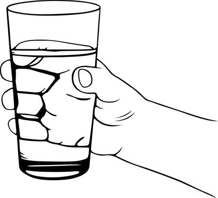 Glass of water in the hand Stock Vector - 16779922