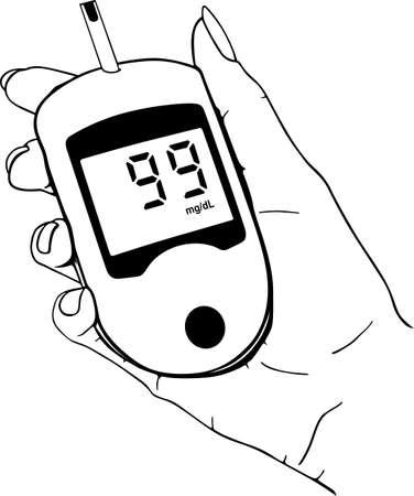 diabetico: Inicio medidor de glucosa en la mano