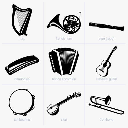 arpa: Instrumentos musicales Vectores