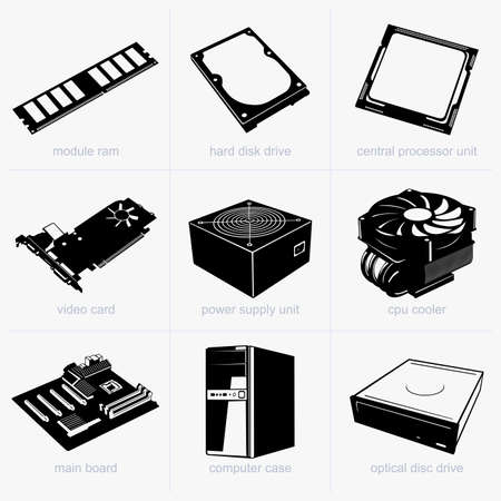 computer part: Computer components Illustration