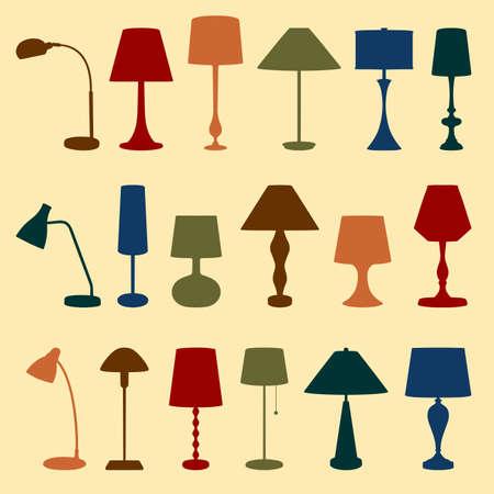 lamp silhouette: Set of lamps Illustration