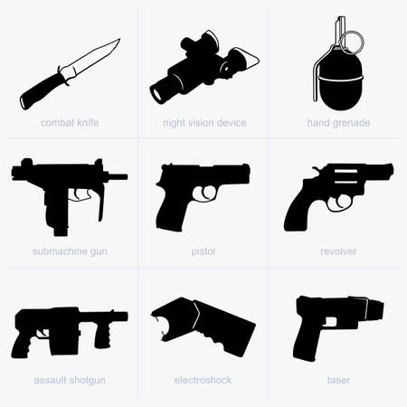 Set of hand weapons Stock Vector - 17774813