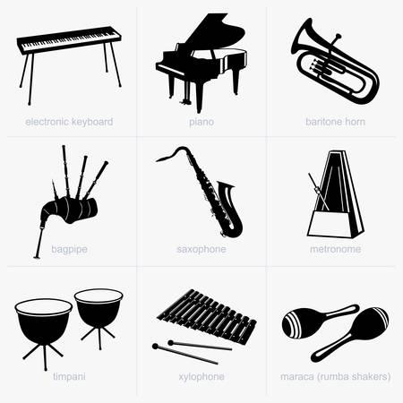 teclado de piano: Instrumentos musicales Vectores