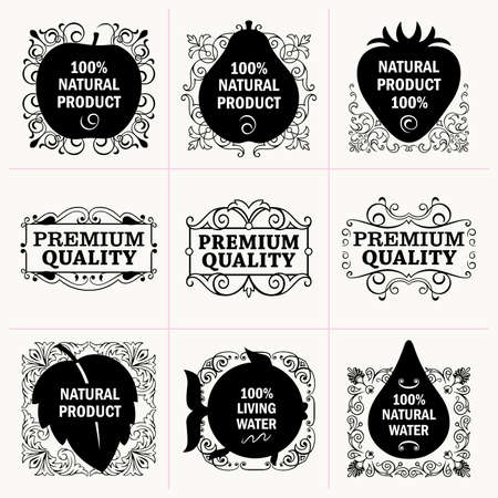 Set of natural production tags Vector