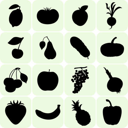vegatables: Fruit and Vegetables silhouettes