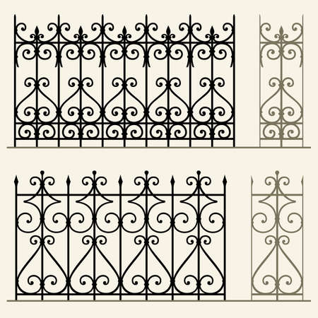 old fence: Wrought iron modular railings and fences