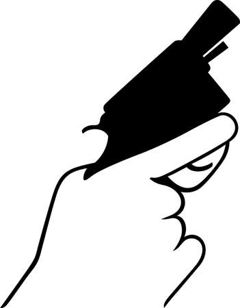 Hand with revolver Stock Vector - 18084985