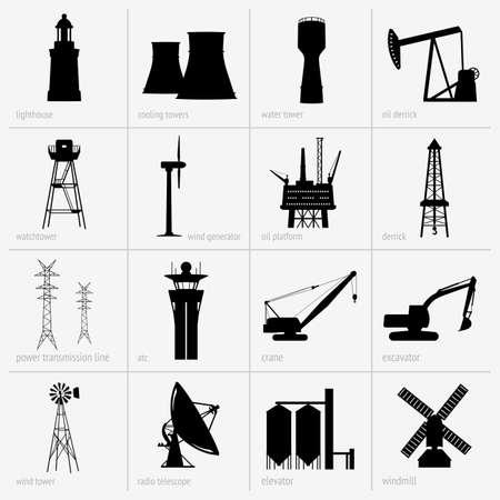 Set van industriële installaties Stock Illustratie