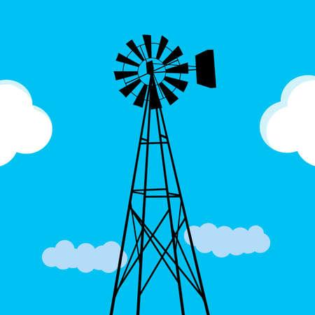 bomba de agua: Molino de viento de bombeo de agua Vectores