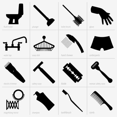 razor blade: Set of bath accessories Illustration