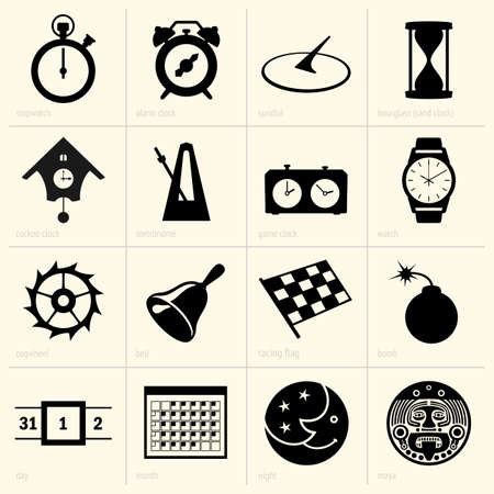 Set of time objects Stock Vector - 19087875