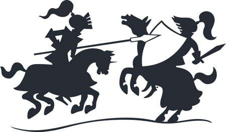 caballero medieval: Caballeros que luchan