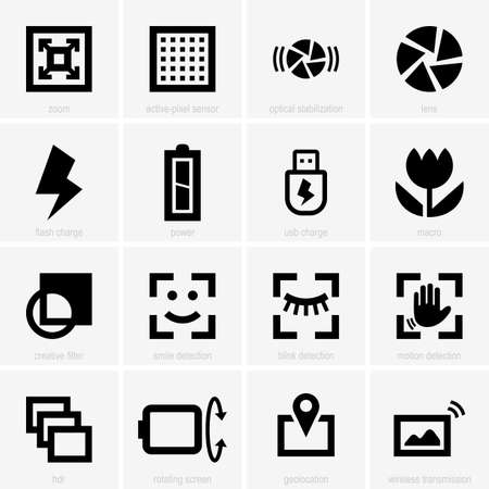 sensores: Conjunto de iconos de fotos Vectores