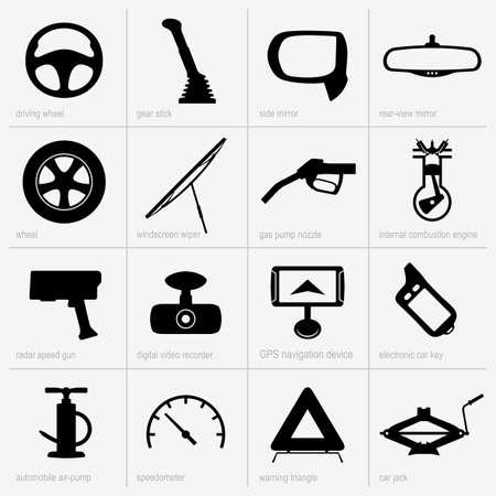 Set of car objects Illustration