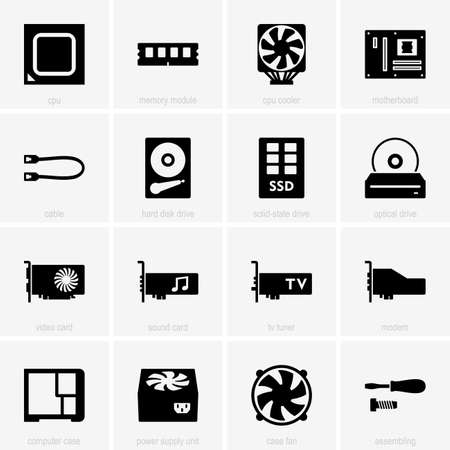 Set of computer components icons Vector