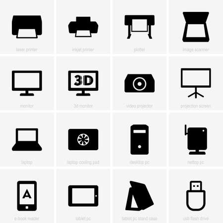 nettop: Set of computer icons Illustration