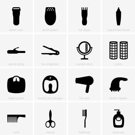 secador de pelo: Set de iconos para el cuidado personal