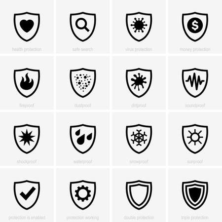 sun protection: Set of protection icons