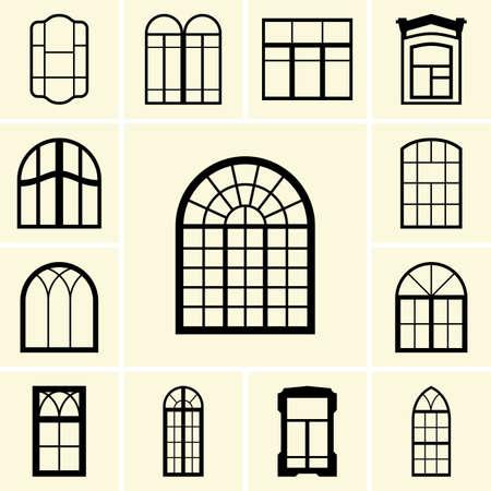 finestra: Set di icone per finestre Vettoriali